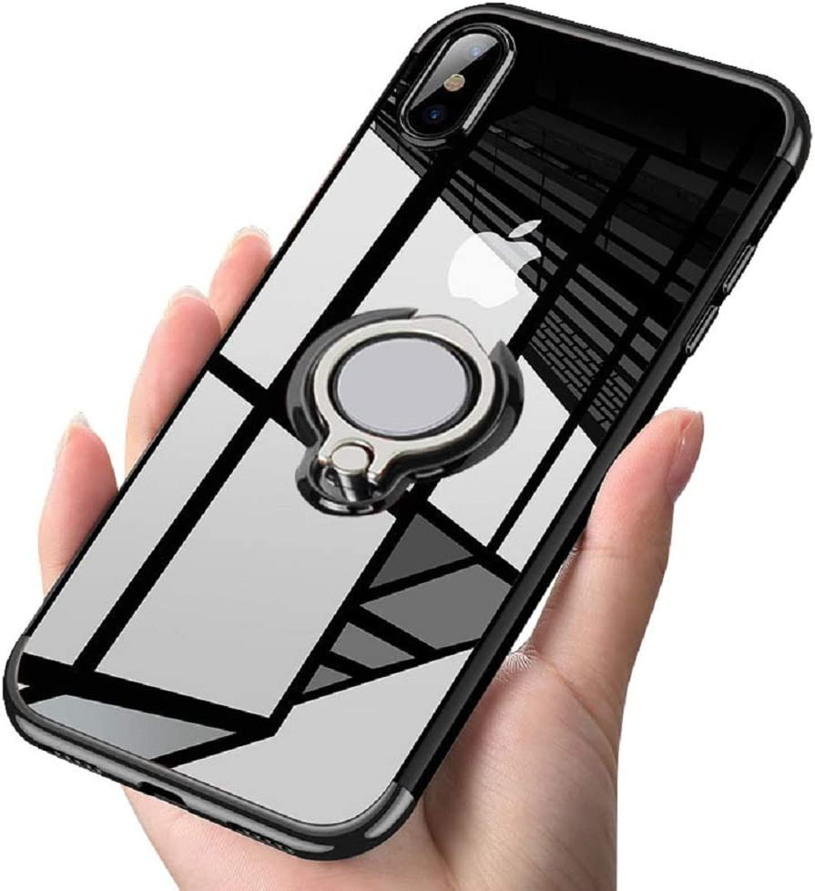 Designed for iPhone X Case/iPhone Xs Case 5.8 Clear Slim 360° Adjustable Ring Holder Protective Cover Soft TPU Thin Anti-Scratch Shockproof Impact Protection for iPhone X/XS -Black