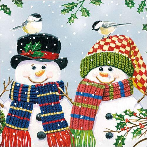 Par de muñecos de nieve – 4 servilletas de papel para decoupage (4 servilletas individuales)