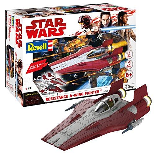 Revell 06759- Star Wars Episodio VII A-Wing Fighter, Kit da costruire con luci e suoni, Rosso, Scala 1:44