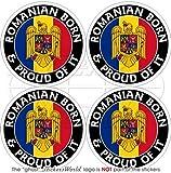Roumanie Roumain Born & Proud 50mm (5,1cm) bumper-helmet en vinyle autocollants, Stickers x4