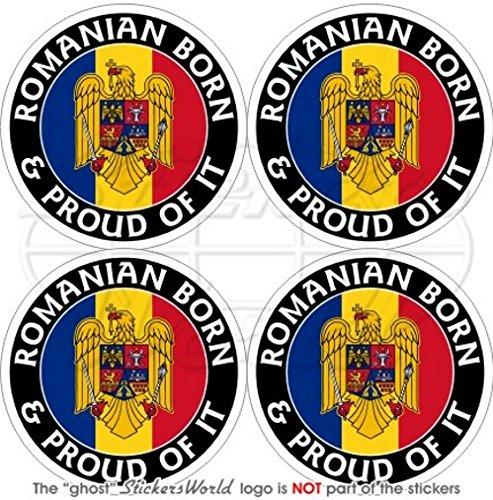 Roumanie Roumain Born & Proud 50 mm (5,1 cm) bumper-helmet en vinyle autocollants, Stickers x4