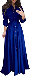 Wintialy Womens Lady Casual Fashion Long Sleeve Lapel Maxi Long Dress Solid Shirt Dress