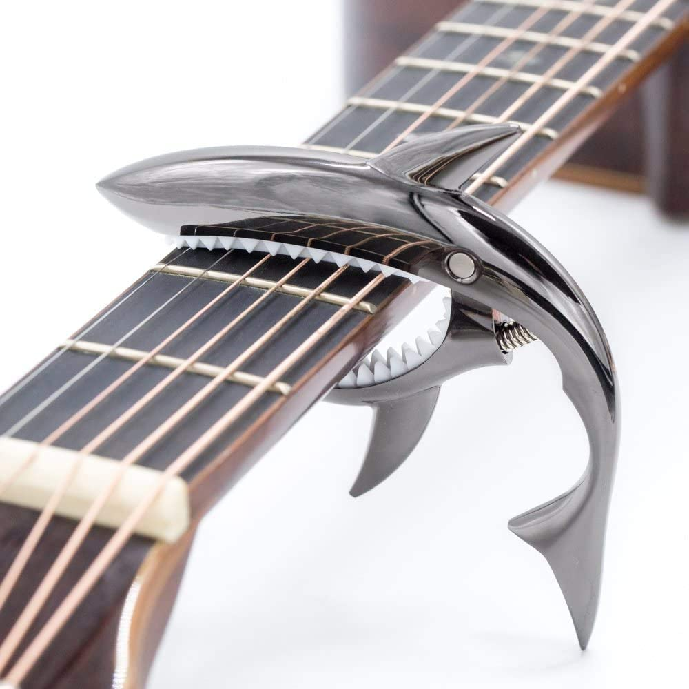 Zinc alloy guitar tuner, Shark capo transponders, used for acoustic and electric guitars, folk songs, ukuleles, mandolins, banjos, music tools 4, 6 and 12 string instruments (Black)