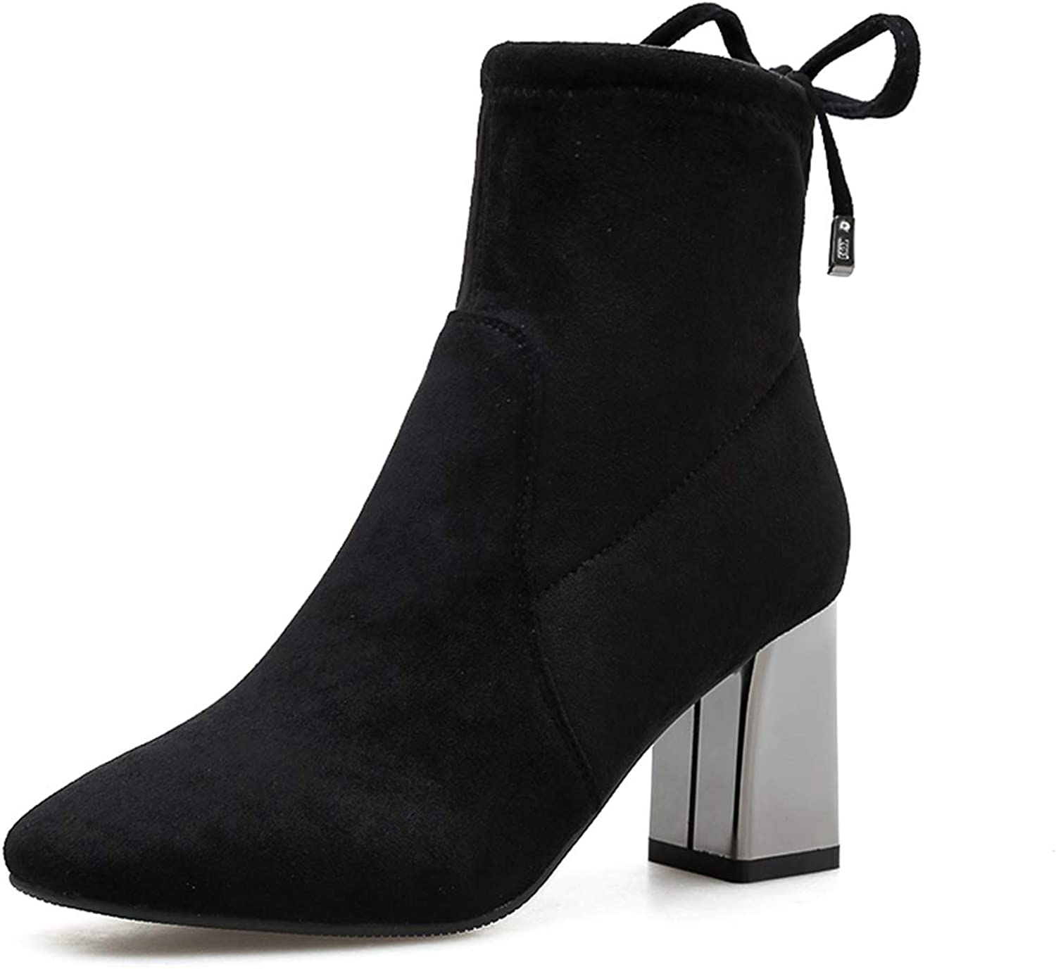 ZSXWIN Tie-Tip Pointed Chelsea High-Heeled Thick with Retro Suede Martin Boots