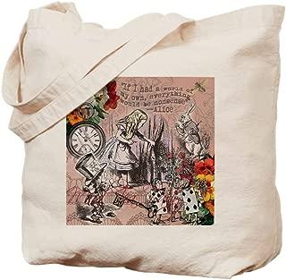 CafePress Alice In Wonderland Vintage Adventures Natural Canvas Tote Bag, Reusable Shopping Bag