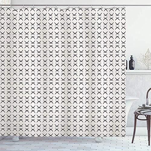 ASDAH Geometrische douchegordijn Modern Hedendaags Beeld met Geometrische Kunstwerken met Halve Ronde Cirkels Stoffen Badkamer Decor Set met Haakjes Houtskool Grijs 66 * 72in