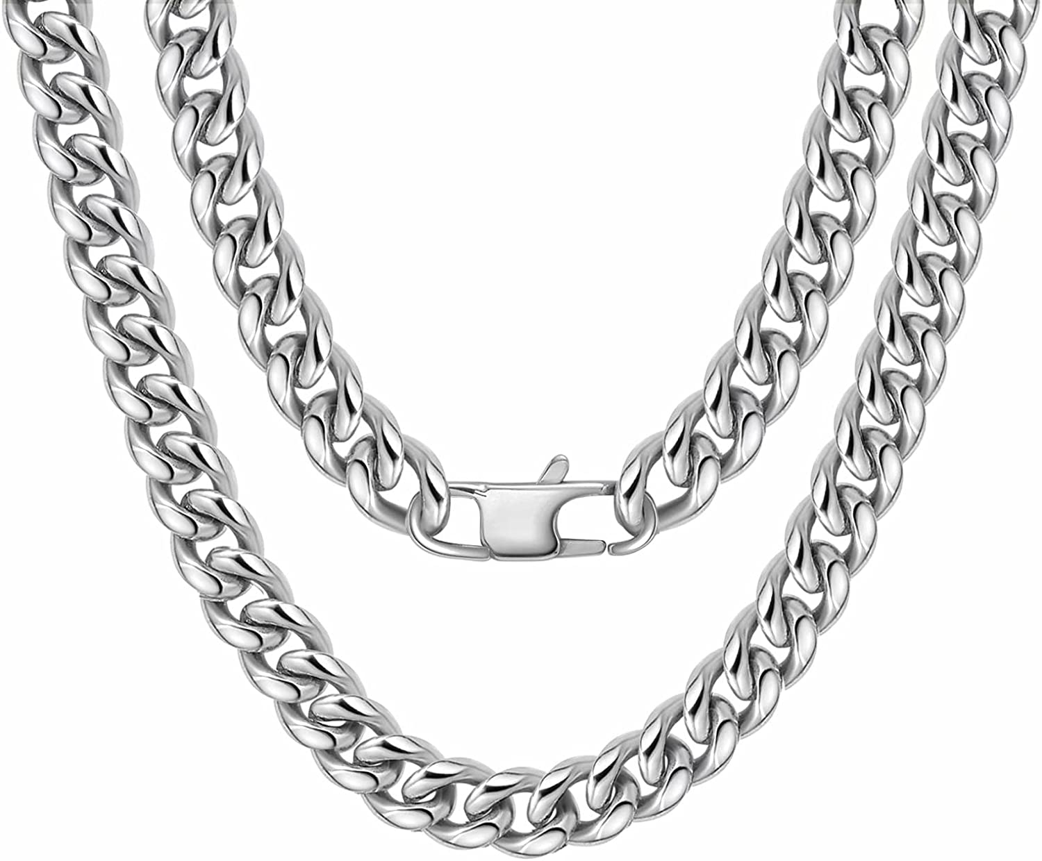 Bestelly Men Curb Cuban Translated Chain Necklace Stainless Steel trust 14MM 6MM