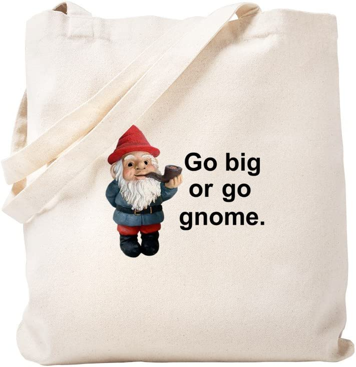 CafePress Go Big Or Go Gnome Tote Bag Natural Canvas Tote Bag, Reusable Shopping Bag
