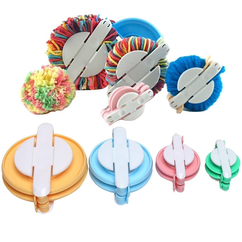 4 Pieces Pom Pom Maker, Pompom Maker Fluff Ball Weaver DIY Knitting Craft Tool Kit