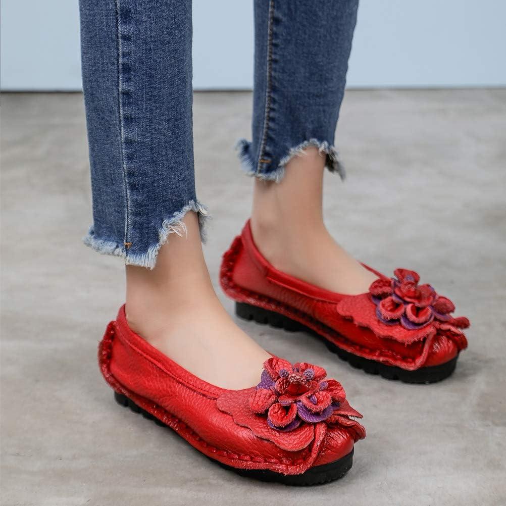 Mallimoda Damen Mokassin Lederschuhe Leder Loafers Flache Bootsschuhe Slippers