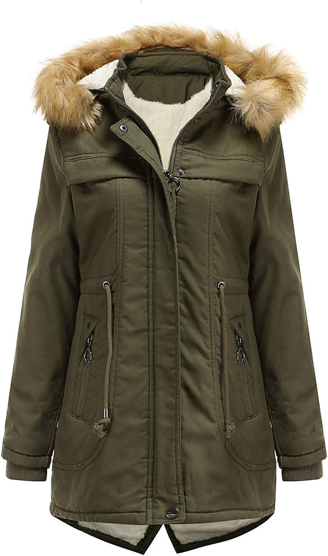 HGWXX7 Womens Coats Fleece Lined Faux Fur Hood Parka Jacket Plus Size Zip Up Slim Fit Warm Winter Coats with Pocket Army Green