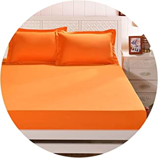 Elastic Sheet Mattress Cover Stars and Moon Bed Sheet Elastic Bed Cloth Cushion Skirt Bedspread Flat Sheet Fitted Cover/Skirt,Orange,120 by 200 by 25cm