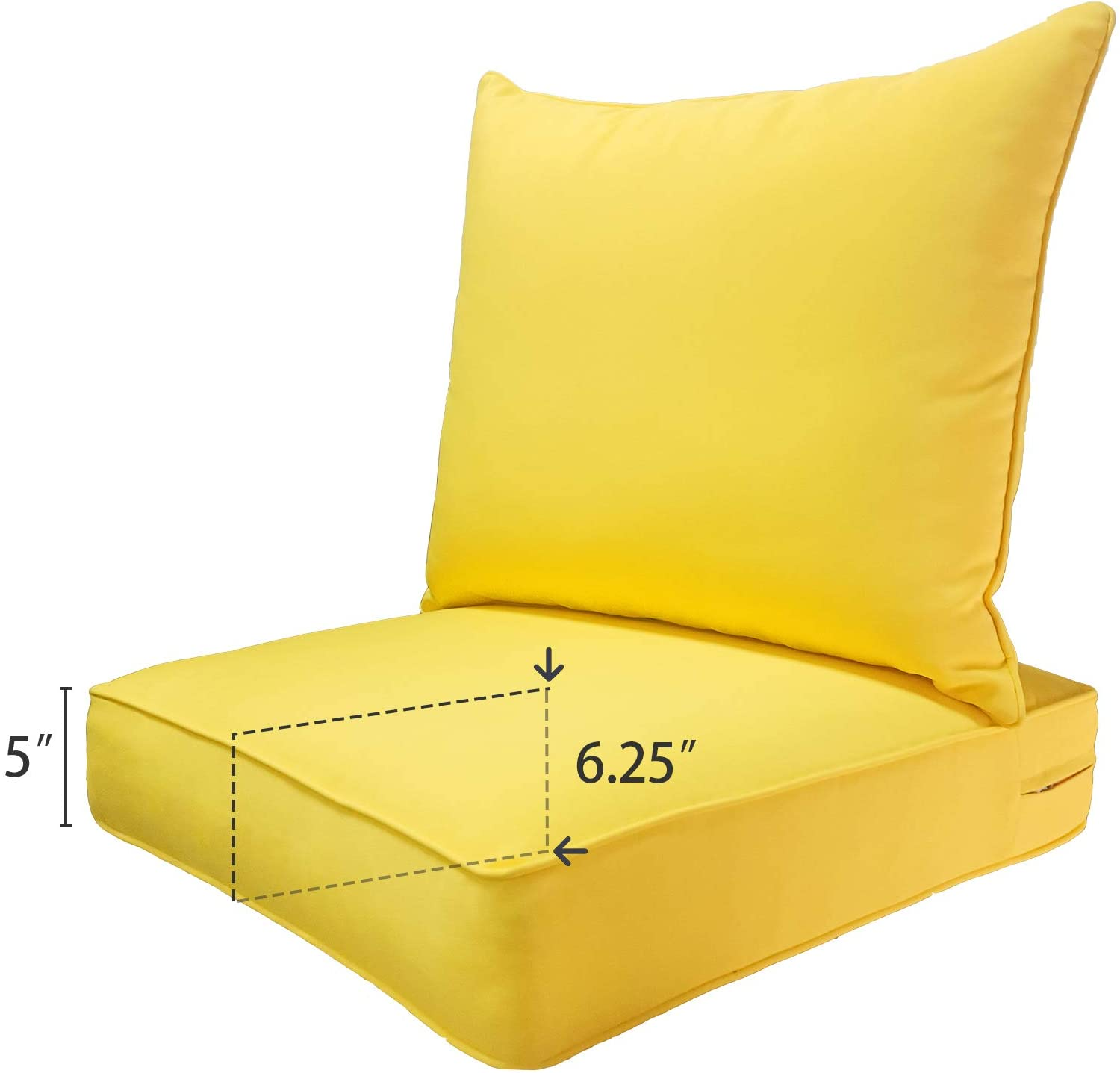 SewKer Outdoor Chair Cushion, 24x24 Deep Seat Patio Furniture Replacement Cushions Set - Yellow