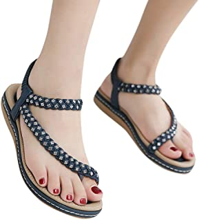 093843aa0 Vedhika Women Flats Sandals Large Size Bohemian Crystal Buckle Beach Roman  Comfort Sandals Party Soft Bottom