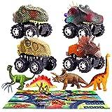 aovowog 9PCS Voiture Jouet Dinosaure pour Enfant 3 4 5 6 Ans,Jouet Dinosaures avec Dinosaure Voiture,Figurine Dinosaure et Jeu Dinosaure Tapis,Cadeaux pour Garçon Fille