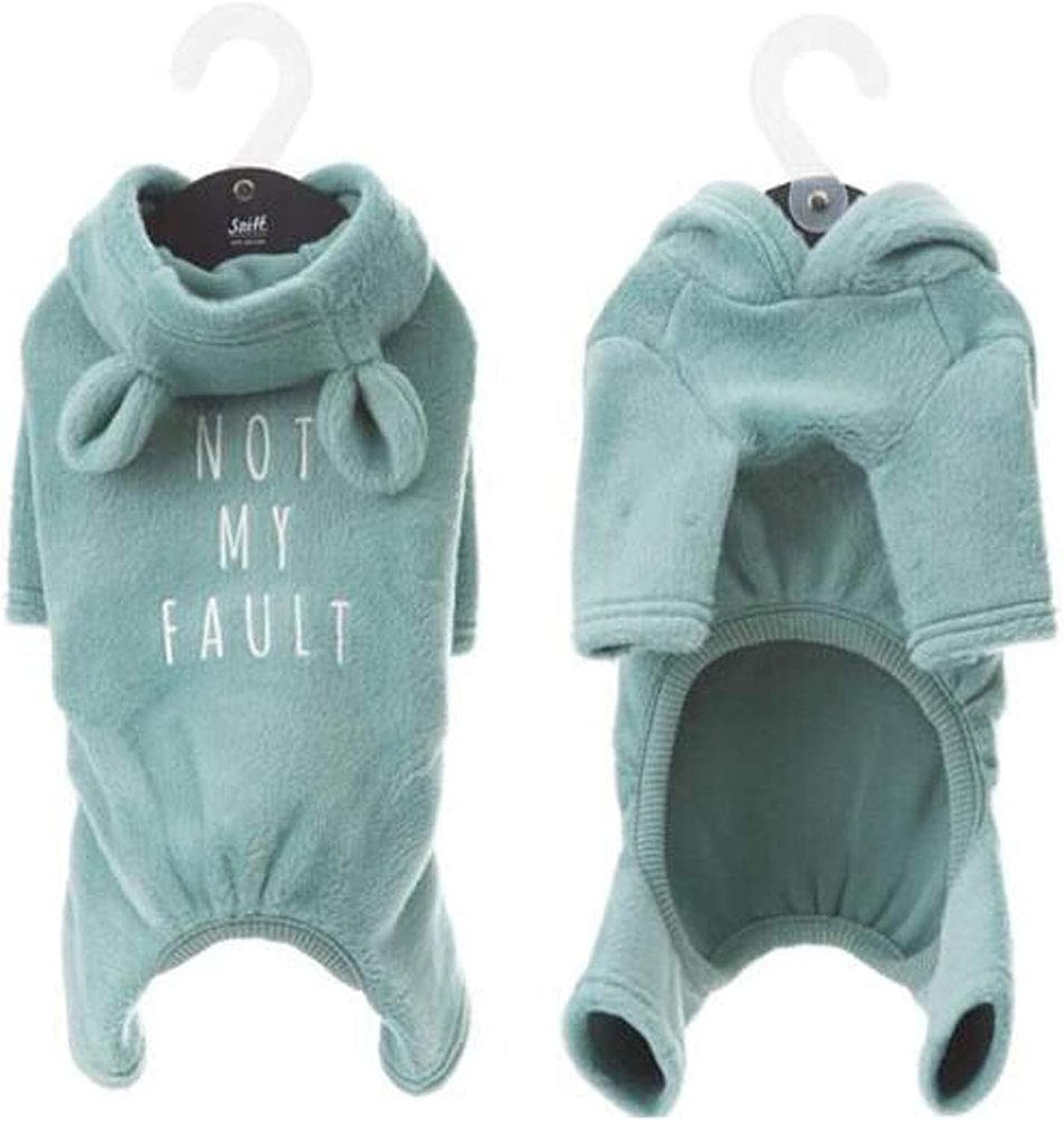 Pet Spring and Autumn Clothes, Teddy VIP Small Dogs, Soft and Comfortable Thick Cotton Warm pet Clothing (color   bluee, Size   L)