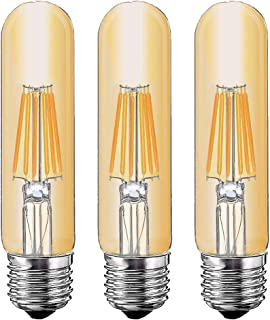 T10 6W Tubular LED Bulb, Dimmable Led Edison Bulb,Led Filament Bulb, T10 Nostalgic Led Bulb, E26 Medium Base, 60 Watt Bulb Equivalent, 2700K Warm White,550LM,Amber Glass Cover, 3-Pack