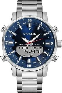 Mens Watch Stainless Steel Analog Digital Waterproof Quartz Watches for Man Multifunctional Backlight Luxury Business Dress Wristwatch