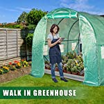 FDW L10'xW7'xH7' Greenhouse for Outdoors Greenhouse Plastic Mini Greenhouse Kit Indoor Portable Greenhouse Plant Shelves… 9 ♠【LARGE TUNNEL GREENHOUSE】The greenhouse use PE fabric with 1 rolling-up door and 8 vents for entry greenhouse. Tunnel greenhouse design offers growing space and ventilation for large size plants. ♠【PROTECT THE PLANTS】Outdoor greenhouse will surely extend your plants growing season no matter where you live, greenhouse can be set up easily. ♠【EASY TO ASSEMBE】The greenhouse comes with all hardware & necessary tools. Follow the portable greenhouse instruction, you'll found easy to set up, and estimated assembly with 2 people.