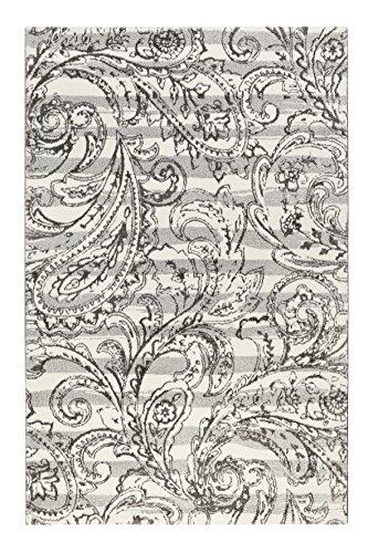 Esprit home I Moderner Kurzflor Teppich - Läufer für Wohnzimmer, Flur, Schlafzimmer I Paisley Style I Grau Weiß I (133 x 200 cm)
