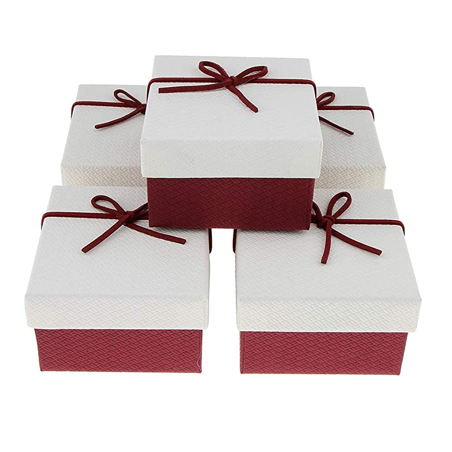 KODORIA 5pcs Jewelry Boxes Gift Box Watch Box Bow-Knot Rope with Black Pillow - White Red