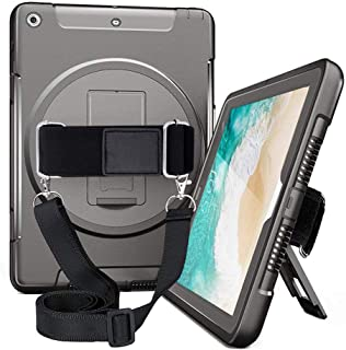 iPad 9.7 Case 2018/2017,iPad 6th 5th Generation Cases Cover for Kids,Heavy Duty Rugged Protective Shockproof Case with 360 Degree Rotating Stand,Hand Strap& Shoulder Strap A1893/A1954/A1822/A1823 Blk
