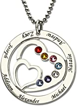 Amandasessom Personalized Necklace Heart Name with Birthstones Necklace with Name Pendant Custom Made 2