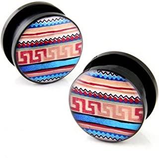 Pair Acrylic Screw on Aztec Mayan Greek Design Ear Plug Gauges Body Piercing Jewelry