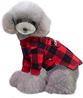 Malier Buffalo Plaid Pet Clothes Christmas for Dogs Cats 100% Cotton Pet Clothes Sweater Shirt