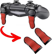 eXtremeRate L2 R2 Buttons Extention Trigger, Soft Touch Grip Extenders, Game Improvement Adjusters for Playstation 4 PS4 Pro PS4 Slim Controller 1 Pair - Red Black