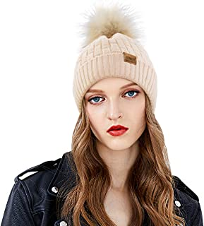 REDNITY Winter Cable Knit Beanie Hat with Faux Fur Pom Pom Fleece Lined Bobble Hat Ski Cap for Women