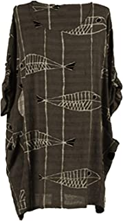 K63 Celebmodelook Italian Ladies Lagenlook Fish Print Women Tunic Dress Plus Size Top