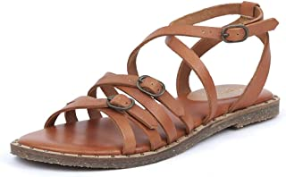 Saint G Womens Tan Strappy Leather Flats