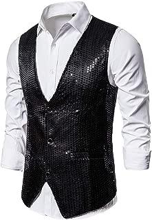 MmNote Men's Slim Fit Sequins Vest V-Neck Shiny Party Dress Suit Stylish Vest Waistcoat in 6 Colors. Sizes: S-2XL