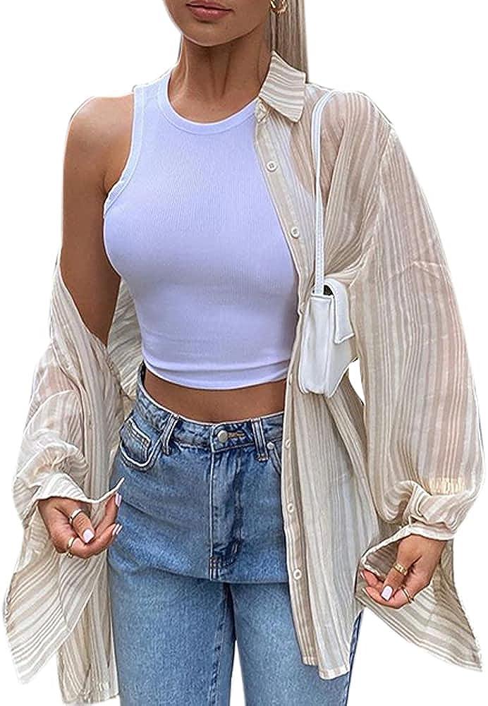 Women Striped Button Down Mesh Shirt Casual Long Sleeve Sheer Collar Cardigan Lightweight Blouse Tops Y2k Shirts