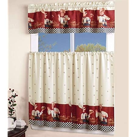 Marcielo 3 Piece Printed Floral Kitchen Cafe Curtain With Swag And Tier Window Curtain Set Chef Home Kitchen
