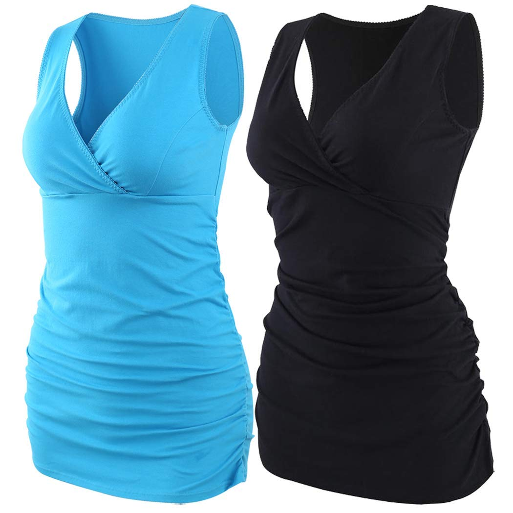 ZUMIY Pregnant Maternity Top Womens Cotton Round Neck Ruched Waist Maternity Cami Shirt
