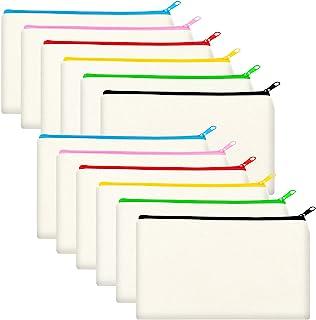12 Pack Blank Canvas Makeup Bag- Bulk Cosmetic Bags with Multi-Color Zipper, Multipurpose Canvas Zipper Pencil Case Pouch,...