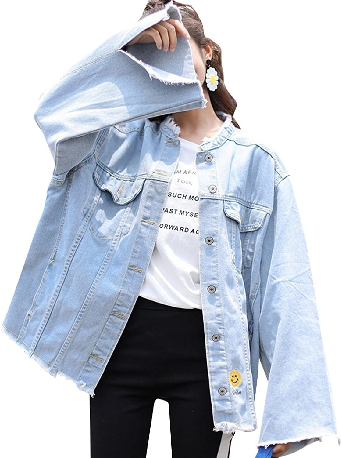 JudyBridal Womens Oversized Loose Jeans Jacket Ripped Distressed Denim Coats