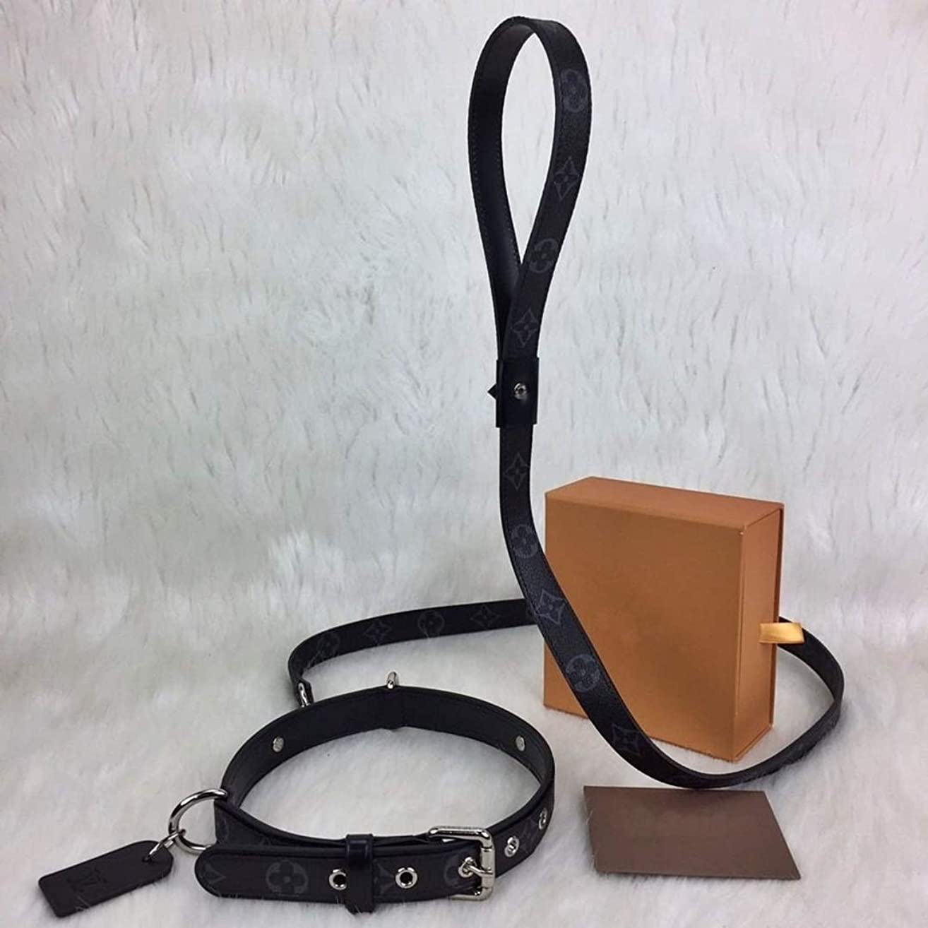 Black Monogram L*uis V*itton Leather Dog Collar & Leash HandMade by - DesignerBomb.