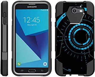 TurtleArmor | Compatible with Samsung Galaxy J7 2017 Case | J7 Prime | J7 Sky Pro [Dynamic Shell] Duo Protection Hybrid Case Impact Rubber Cover Hard Kickstand - Blue Tron Target