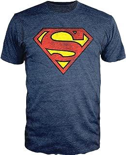 Bioworld Superman Logo Shield Heathered Navy Slim-Fit T-Shirt