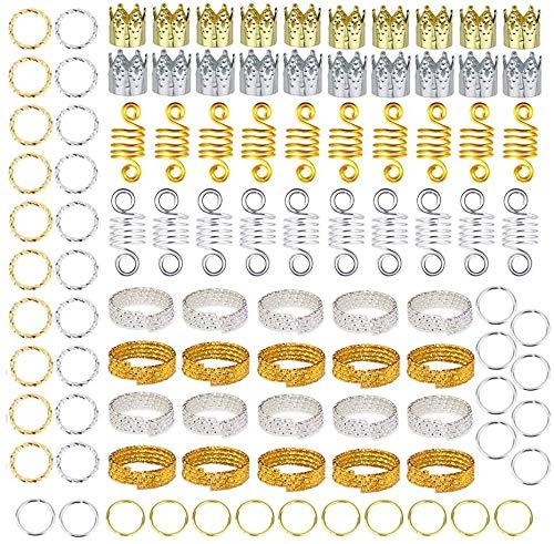XIAOWANG 200 PC Gold & Silber Haar Ringe Aluminium Dreadlocks Korn-Gold-Blätter Anhänger Schmuck Metall Cuffs Braid Schmuck Accessoires für Haar Zöpfe Zubehör