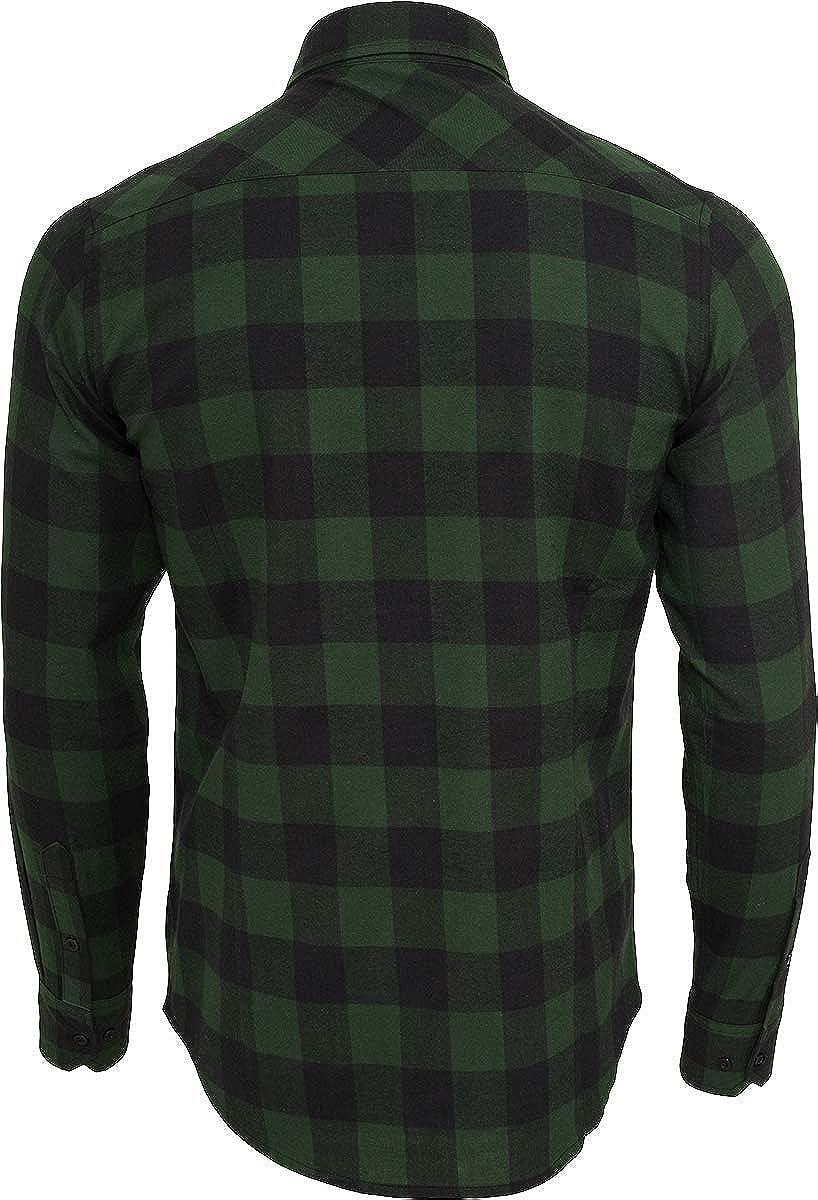 Urban Classics Camisa de Franela a Cuadros Hombre Camisa de Franela Negro/Verde Oscuro, Regular