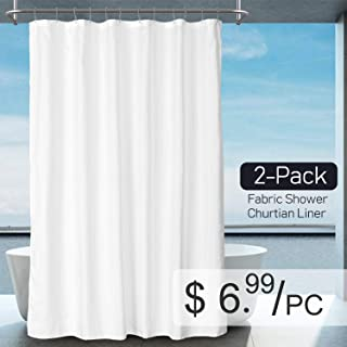 """Barossa Design 2-Pack Fabric Shower Curtain/Liner - Hotel Quality, Washable & Water Repellent, 12 Button Holes - 70"""" W x 72"""" H, White"""
