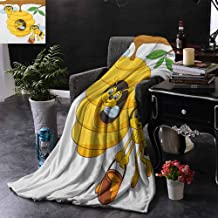 Kenneth Camilla Boys Throw Blanket Nursery,Branch of Tree with Beehive and Bees Honey Funny Insect Hardworking Mascot,Yellow Brown Green,Super Soft Blanketry for Bed Couc 60
