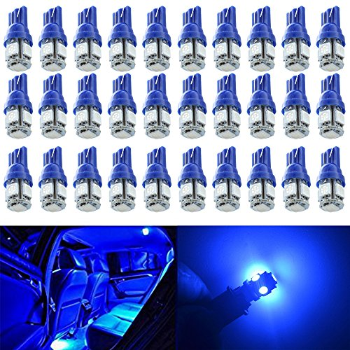 Alopee 30-Pack Blue Replacement Stock #: 194 T10 168 2825 W5W 175 158 Bulb 5050 5 SMD LED Light,12V Car Interior Lighting For Map Dome Lamp Courtesy Trunk License Plate Dashboard Parking Lights