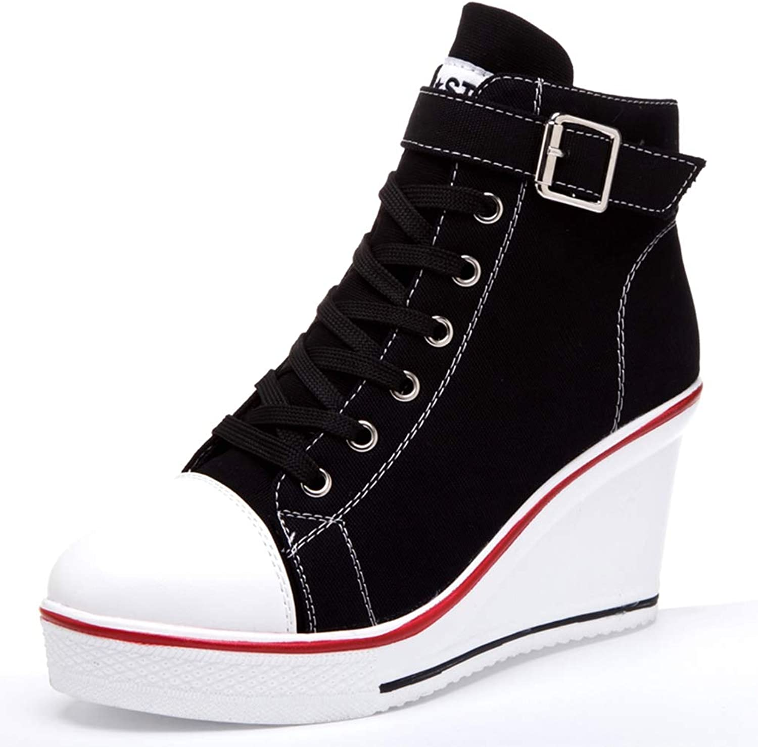 Btrada Women High Top Wedges Canvas Sneakers Female Lace Up Ankle Ankle Canvas shoes