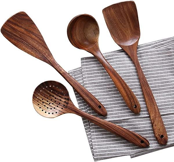 木质炊具厨具天然柚木木质厨具套装不粘硬木铲木勺勺子 1