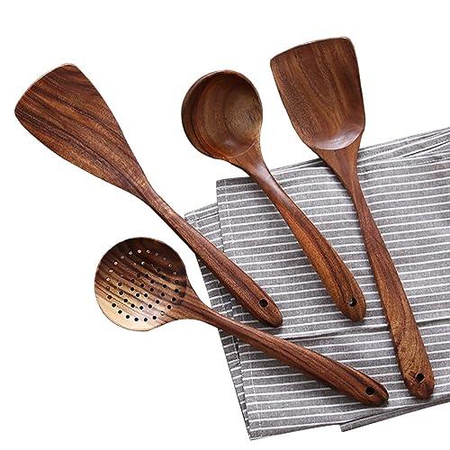 Wooden Cooking Utensils Kitchen Utensil, Natural Teak Wood Kitchen Utensils Set - Nonstick Hard Wooden Spatula and Wooden Spoons